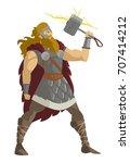 nordic mythology thor god of... | Shutterstock .eps vector #707414212