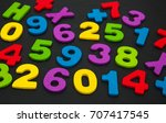 colorful wooden numbers on a... | Shutterstock . vector #707417545