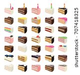 vector cake slices with fruits  ... | Shutterstock .eps vector #707418325