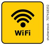 wi fi hotspot sign yellow.... | Shutterstock .eps vector #707418352