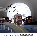 haunted house on fullmoon night ... | Shutterstock .eps vector #707420902