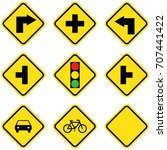 yellow traffic sign | Shutterstock .eps vector #707441422