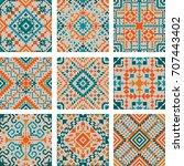 tribal vector seamless pattern... | Shutterstock .eps vector #707443402
