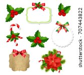 christmas labels set with red... | Shutterstock .eps vector #707443822