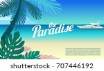 paradise beach of the sea with... | Shutterstock .eps vector #707446192