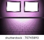 interior with two frame purple - stock photo