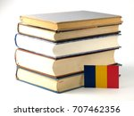 romanian flag with pile of... | Shutterstock . vector #707462356