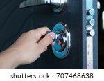 open door of a family home.... | Shutterstock . vector #707468638