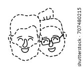 dotted shape avatar couple head ... | Shutterstock .eps vector #707480215