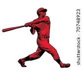 Powerful Baseball Hitter Left handed - stock vector