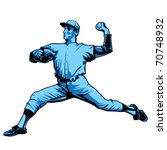 Baseball Pitcher Left handed - stock vector