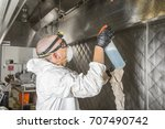 commercial kitchen worker... | Shutterstock . vector #707490742