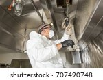commercial kitchen worker... | Shutterstock . vector #707490748