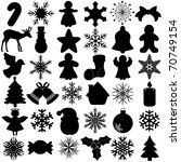 Silhouettes Vector Of Snowflak...