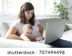 mother and baby child are... | Shutterstock . vector #707494498
