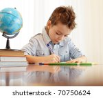little boy does house lessons | Shutterstock . vector #70750624