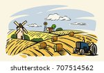 vector country with tractor on... | Shutterstock .eps vector #707514562