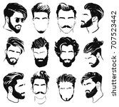 vector men hairstyle silhouettes | Shutterstock .eps vector #707523442