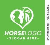 Stock vector green horse logo vector 707532262