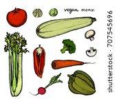 vegan menu   set of colored... | Shutterstock .eps vector #707545696