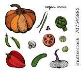 vegan menu   set of 11 color... | Shutterstock .eps vector #707545882