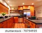 Stock photo really nice kitchen with cherry wood and hardwood floor 70754935