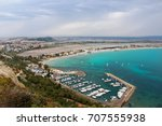 aerial view of poetto beach and ... | Shutterstock . vector #707555938