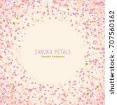sakura petals. spring flyer.... | Shutterstock .eps vector #707560162