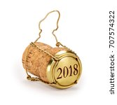 champagne cork 2018 on cap ... | Shutterstock . vector #707574322