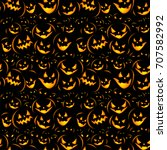seamless halloween background... | Shutterstock .eps vector #707582992