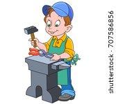 cartoon blacksmith worker ...   Shutterstock .eps vector #707586856