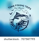 tuna fishing emblem on blur... | Shutterstock .eps vector #707587795