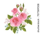 english  pink rose graphic... | Shutterstock .eps vector #707589508