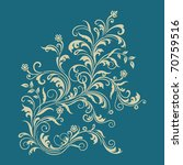 Floral Ornament On Turquoise...