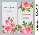 english  pink rose graphic... | Shutterstock .eps vector #707605912