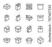 simple set of box and crates... | Shutterstock .eps vector #707607532