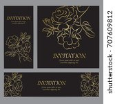 background with gold rose... | Shutterstock .eps vector #707609812