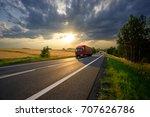 red trucks arriving on the...   Shutterstock . vector #707626786