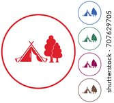 stylized icon of tourist tent.... | Shutterstock .eps vector #707629705