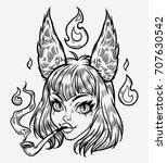 anime girl. kawaii girl with... | Shutterstock .eps vector #707630542
