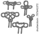 set of sailing knots hand drawn.... | Shutterstock .eps vector #707641372