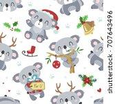 vector cartoon koala christmas... | Shutterstock .eps vector #707643496
