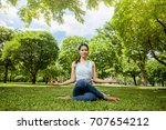 asian woman practicing yoga in... | Shutterstock . vector #707654212