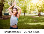 asian woman practicing yoga in... | Shutterstock . vector #707654236