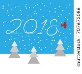 new year concept   plane left a ... | Shutterstock .eps vector #707672086