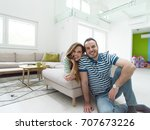young handsome couple enjoys...   Shutterstock . vector #707673226