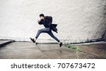 run away hipster dressed like... | Shutterstock . vector #707673472