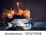 scary halloween cup cakes...   Shutterstock . vector #707679058