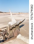Small photo of The shipwreck of the Benguela Eagle, which ran aground in 1973, on the C34-road between Henties Bay and Torra Bay in the Skeleton Coast area of Namibia