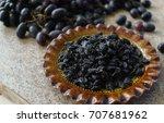 a bunch of fresh sweet dark and ... | Shutterstock . vector #707681962